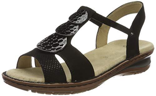ARA Women's Hawaii T-Bar Sandals, Black 70, 9