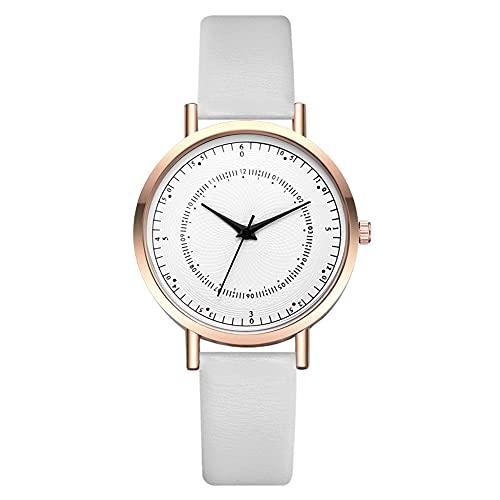 Reloj redondo – Reloj de pulsera redondo de cuarzo con correa de PU (blanco + oro rosa) para hombres
