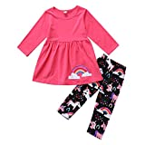 2Pcs/Set Kids Toddler Baby Girl Outfits Long Sleeve T-Shirt Top Dress+Floral Pants Fall Spring Clothes (Pink Rainbow, 1-2 Years)