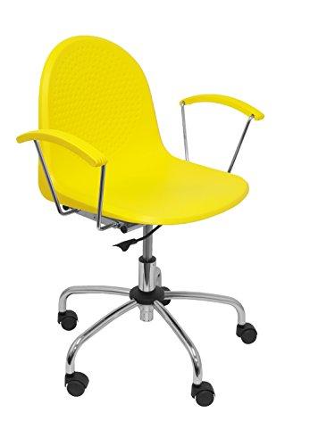 PIQUERAS Y CRESPO Modello 320 - Sedia da ufficio ergonomica con braccioli fissi, regolabile in altezza e girevole a 360º - Seduta e schienale in plastica giallo