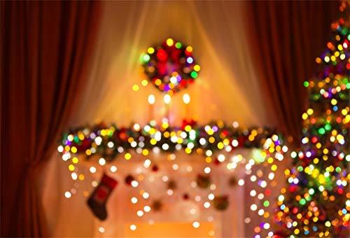 YongFoto 7x5ft Fotografie Achtergrond Kerstboom Garland Bokeh Glanzende pailletten Voorraad Open haard Gordijn Interieur Xmas Photo Achtergrond Achtergronden Fotografie Video Party Kids Photo Studio Props
