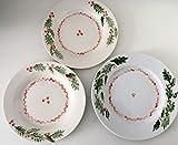 MaJe ceramista Set 3 Platos esmaltado porcelana pintada a mano acebo navidad