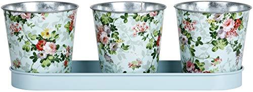 Esschert Design RD49 Blumentöpfe mit Rosenmotiv, 3-teilig