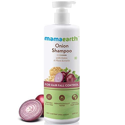 Mamaearth Onion Shampoo for Hair Growth & Hair Fall Control with Onion Oil & Plant Keratin 400ml