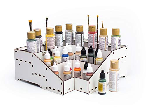 PROSCALE Organizador pinturas modelismo - Soporte kit citadel pintura acrilica vallejo soporte pinceles miniaturas warhammer Mesa de trabajo modelismo (D: Esquina)