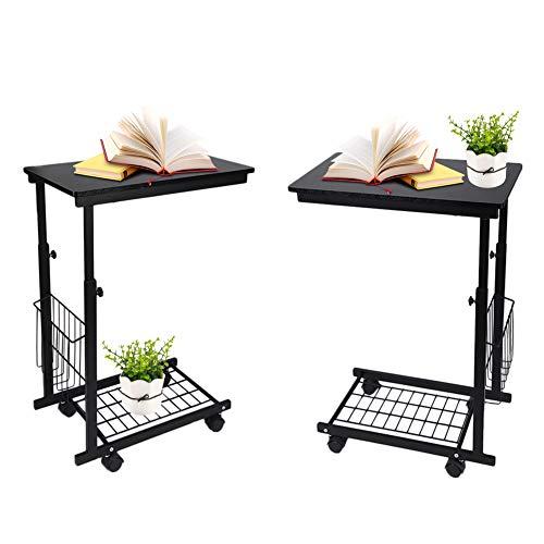 Sofa Beistelltisch Verstellbarer Beistelltisch auf Rädern, Tisch Beistelltisch mit Ablagekörben Bodengitter, Couchtisch Beistelltisch auf Rädern für Schlafsofa Wohnzimmer Schlafzimmer Laptop Snack