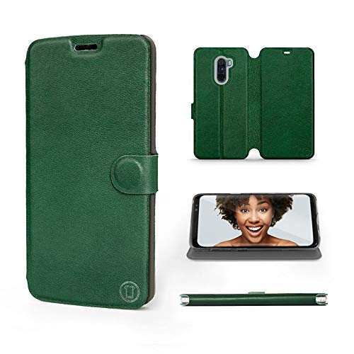 Mobiwear | Echt Lederhülle | Kompatibel mit Xiaomi Pocophone F1, Made in EU handyhülle, Slim Leather Hülle, Premium Flip Schutzhülle, Transparent TPU Silicon, Book Style, Tasche - Grünes Leder
