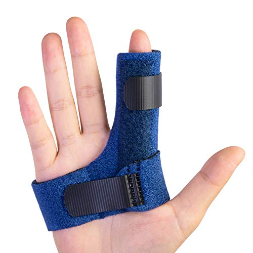 Sumifun Finger Brace, Finger Splints with 2 Gel Sleeves for Mallet Finger, Trigger Finger, Finger Supports with Built-in Aluminium Bar for Sprains, Pain Relief, Sports Injury(Right)
