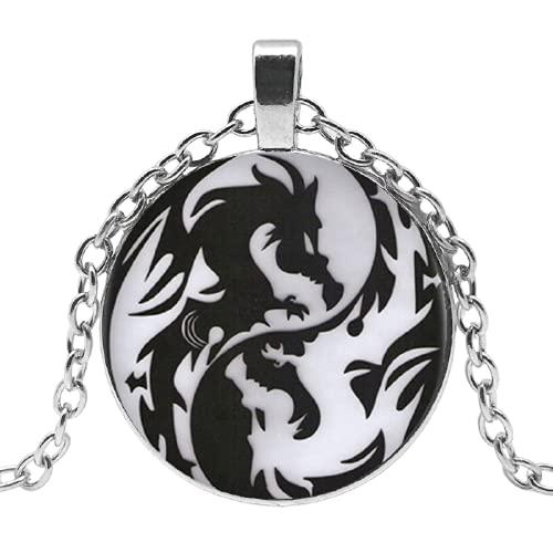 Collar con colgante de dragón yin y yang vintage convexo redondo largo negro cadena collar de moda mujer ropa de hombre.