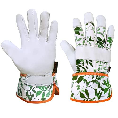 SLARMOR Gartenhandschuhe Damen Herren, Arbeitshandschuhe für Gartenarbeit, Atmungsaktive Handschuhe für Garten Werkstatt Baustelle aus Rindleder, Mit Handgelenkschutz -L