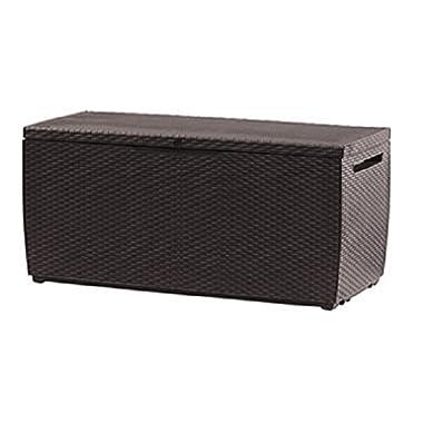 Keter Capri 80-Gallon Rattan Outdoor Storage Deck Box, Espresso Brown
