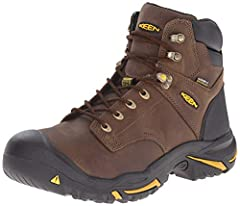 KEEN for comfort: Left and right asymmetrical safety toe, uniquely anatomically correct steel, aluminum, and composite toe designs provide a roomier toe box and maximum comfort; meets ASTM testing standards Safety first: Includes a direct-attach PU m...