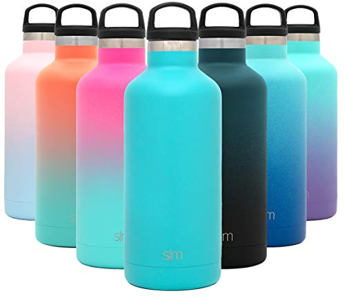 Simple Modern 32oz Ascent Water Bottle - Hydro Vacuum Insulated Tumbler Flask w/Handle Lid - Teal Double Wall Stainless Steel Reusable - Leakproof: - Caribbean