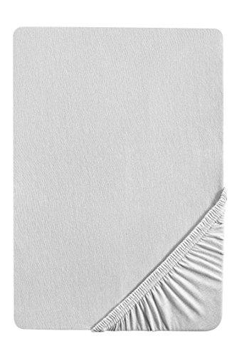 #20 biberna Jersey-Stretch Spannbettlaken, Spannbetttuch, Bettlaken, 90x190 – 100x200 cm, Grau