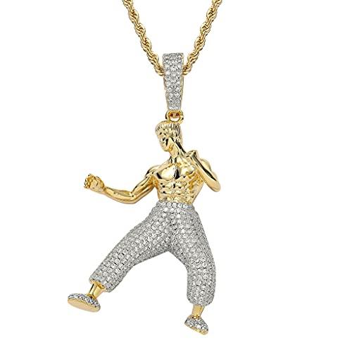 MENGKE Chinesische Kung Fu Bruce Lee Anhänger Micro-Inline Zirkon Feste Feste Dreidimensionale Persönlichkeit National Idol Hip Hop Halskette Anhänger,Two Tone