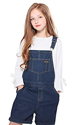 SOLOCOTE Girls Denim Overalls with Adjustable Belt Jumpers BF Jeans Jumpsuit Suspender Shortall Bib Pocket, 191006, Dark Blue, 7-8Y