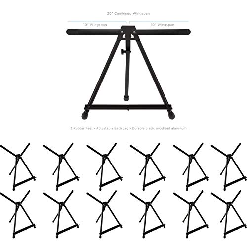 SoHo Urban Artist Table Top Easel - Lightweight Table Top Studio Artist Easel for Travel & Display No Assembly with Carrying Case - Black Anodized Aluminum [12-Pack]