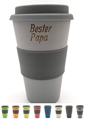BambooYou Magu personalisierter Coffee to go Becher mit Namen Bambus Namensbecher - Individuelle Namensgravur- Lasergravur 465 - Silber