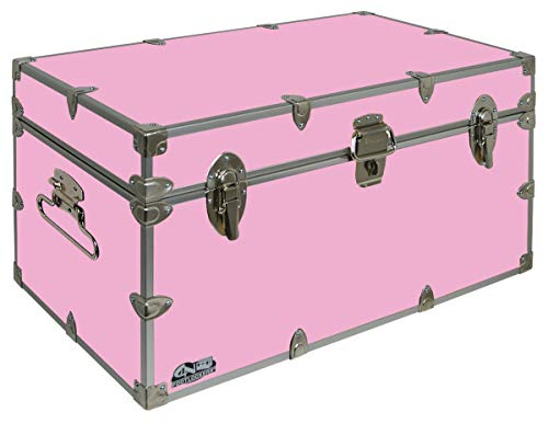 C&N Footlockers UnderGrad Storage Trunk - College Dorm Chest - Durable with Lid Stay - 32 x 18 x 16.5 Inches (Light Pink)