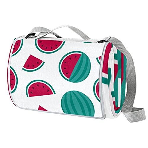 Manta de picnic portátil de 57 x 59 pulgadas, impermeable, para playa, camping, césped, música, festival sandía, rebanadas de frutas