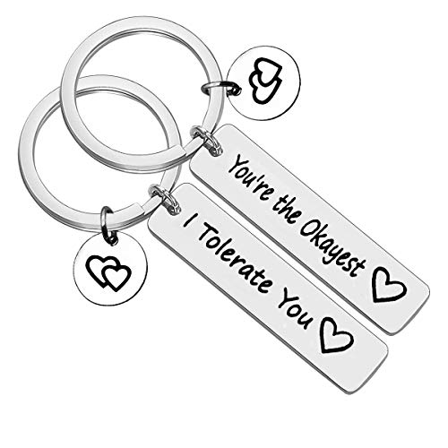 Friend Gifts Keychain Friendship Gifts Keychain Set - I Tolerate You/You're The Okayest Funny Couple Keychain Gift for BFF Boyfriend Couple 2 Pcs Friendship Jewelry for Him and Her