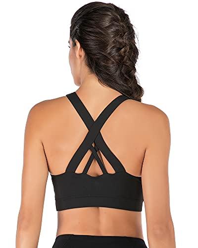 Acrawnni Sujetador deportivo acolchado para mujer, sin alambre, copas extraíbles de impacto medio, sujetadores de yoga, único en la espalda cruzada para gimnasio, yoga