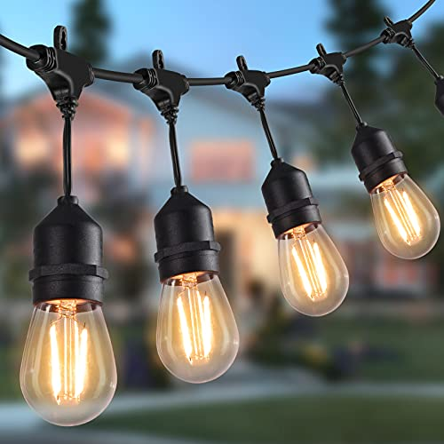 LED Outdoor String Lights 14.63M/48 Feet Waterproof Patio Lights with 15 Shatterproof Bulbs, Commercial Hanging Lights for Backyard, Porch, Bistro Party, CE Listed, Warm White