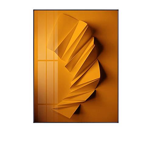 LiMengQi Abstrakte geometrische Kunst Schwarzweiss-Origami-Goldfolie Leinwand-Kunst-Gemälde für Wohnzimmer-Plakate und Drucke Wandplakat-Dekor (kein Rahmen)