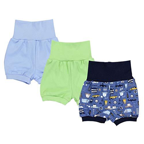 TupTam Baby Unisex Kurze Pumphose Sommershorts 3er Pack, Farbe: Junge 2, Größe: 92-98