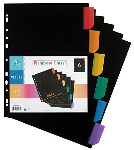 Viquel Maxi Lot de 6 Intercalaires A4 en polypropylène Rainbow Class