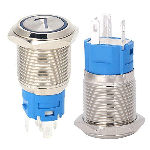 Interruptor de botón de empuje oscuro, pulsador de metal electrodomésticos Hacer la resistencia al agua Hecho de acero inoxidable