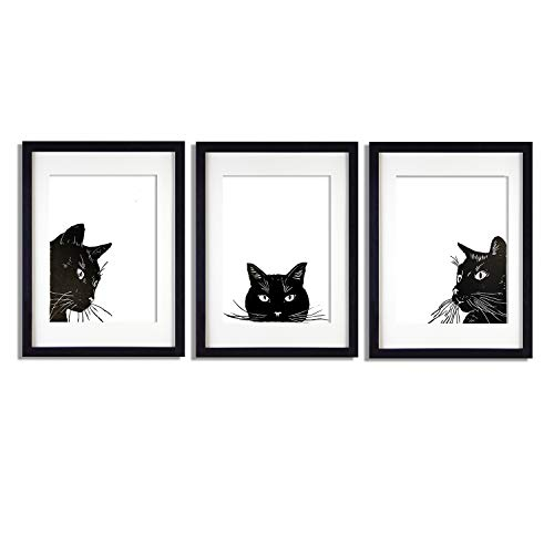 Handmade Three Black Cats Wall Art Paintings - Pure Hand Painted Kitty Printings for