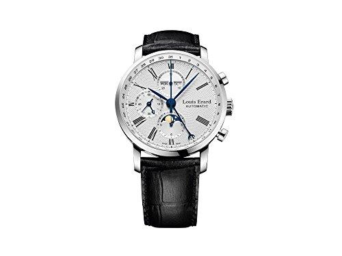 Louis Erard eccellenza orologio automatico, argento, cronografo, fasi lunari, data