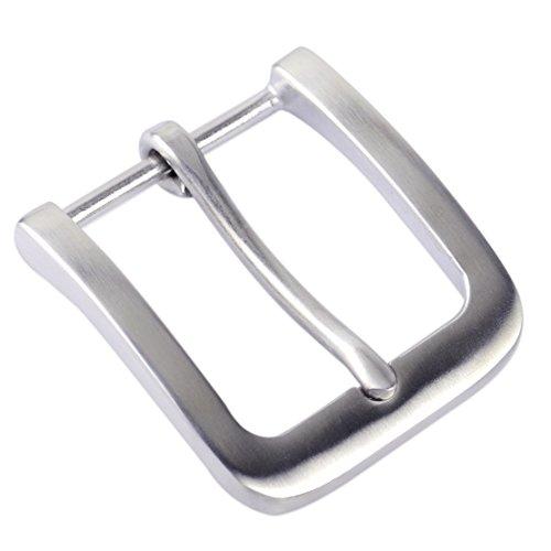 Mattsilber 304 Edelstahl Dornschließe für Herren Ledergürtel Ersatzgürtel Snap On 40mm Fashion
