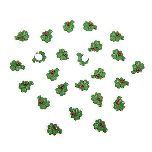 Lot de 24 petites feuilles de trèfle à quatre coccinelles - Vert et rouge - 1,5 cm