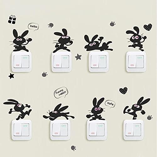 Lindo Conejito Muchos Conejos Pared Pegatina Para Interruptor Habitaciones De Niños Cocina Sala De Estar Decoración Del Hogar Calcomanías De Arte Para Guardería Pegatinas De Vinilo