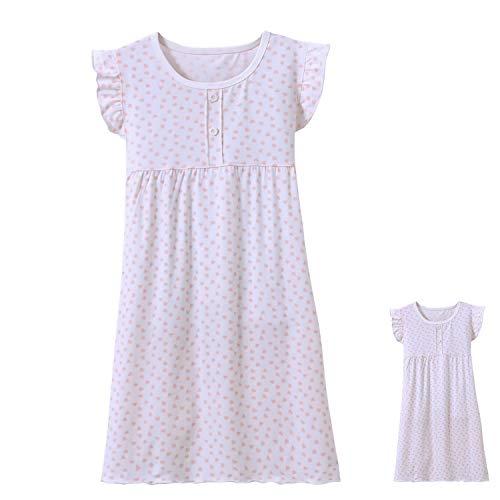 Allmeingeld Mädchen Kitty Nighties Katze Nachthemd Baumwolle Nachtwäsche für 3-10 Jahre, Weißes Herz mit kurzen Ärmeln und 45,7 cm langem Puppenkleid, 3-4 Jahre