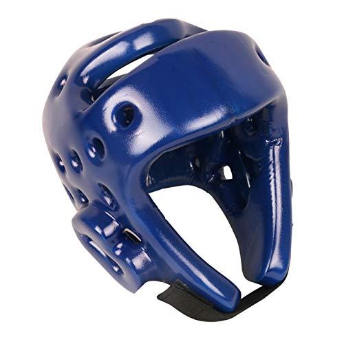 XQxiqi689sy MMA Sparring Kickboxing headgear para hombres, adultos niños boxeo Taekwondo Muay Thai casco protector de cabeza de entrenamiento Gear Head Protection - Azul S