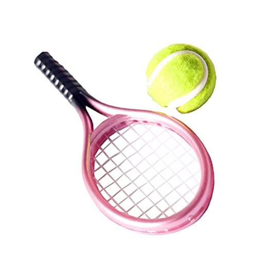 ABOOFAN Casa de Muñecas Miniatura Pelota de Tenis Y Raqueta Modelo Miniatura Ornamento de Paisaje DIY Artesanía de Deportes Accesorios de Cabina de Fotos