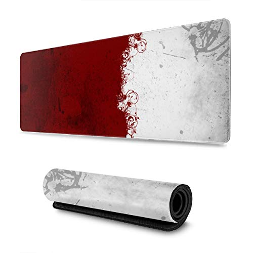 Abstract Red White XL Extended Gaming Mouse Pad Large Mousepad with Stitched Edges, Keyboard Pads Mat for Gamer Computer Office Home 31.5x11.8 in