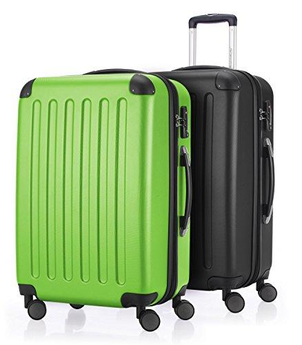 HAUPTSTADTKOFFER - Spree - 2er Koffer-Set Hartschale Matt, TSA, 65 cm mit Volumenerweiterung, Apfelgrün-Schwarz