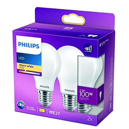Philips LED Classic Bombilla, 100 W, Estándar A60 E27, Mate, Luz Blanca Cálida, No Regulable, Pack de 2 Unidades