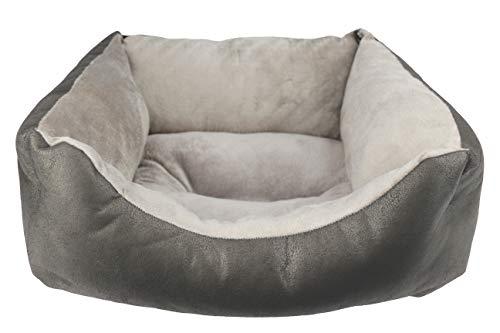 Desconocido Cama para Perro, Cuna para Mascotas de tapicería y coralina (Pequeño(52x42x20), Gris)
