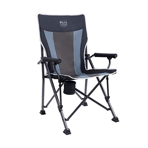 Timber Ridge Camping Chair 400lbs Folding Padded Hard Arm Chair High Back Lawn Chair...