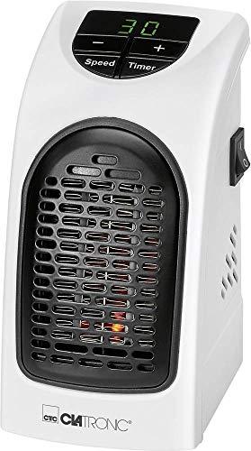 Clatronic HL 3738 Mobiler, kompakter Steckdosen-Heizlüfter mit 2 Gebläsestufen, hochwertiges PTC-Heizelement, LED-Display-und Kontrollleuchte, 12 Stunden-Timer, weiß