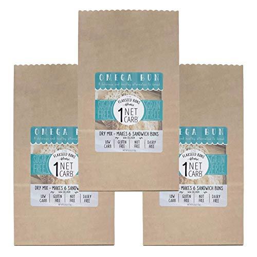 Omega Bun Dry Mix - 3 pack - Low Carb Bread, Keto Sandwich Bun, Gluten Free, Organic Ingredients