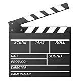 Movie Film Clap Board, Hollywood Clapper Board Wooden Film Movie Clapboard Accessory with Black & White, 12'x11' Give Away White Erasable Pen