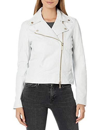 Armani Exchange AX Damen Perforated Sheep Leather Motorcycle Jacket Lederjacke, gebrochenes weiß, Large