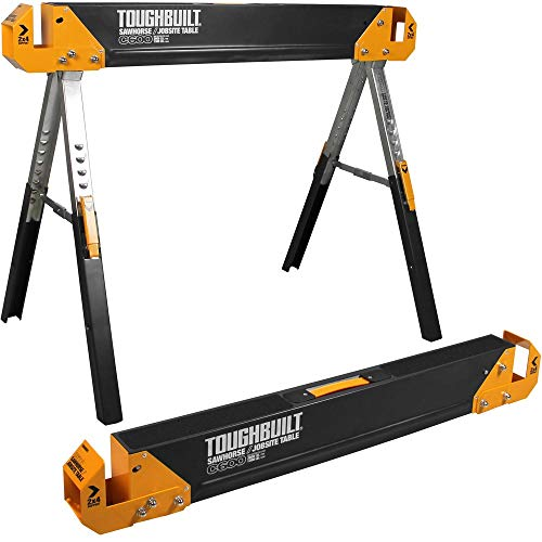 ToughBuilt Folding Sawhorse/Jobsite Table - Sturdy, Durable, Lightweight, Heavy-Duty, 100% High Grade Steel, 1300lb Capacity, Easy Carry Handle (TB-C600)