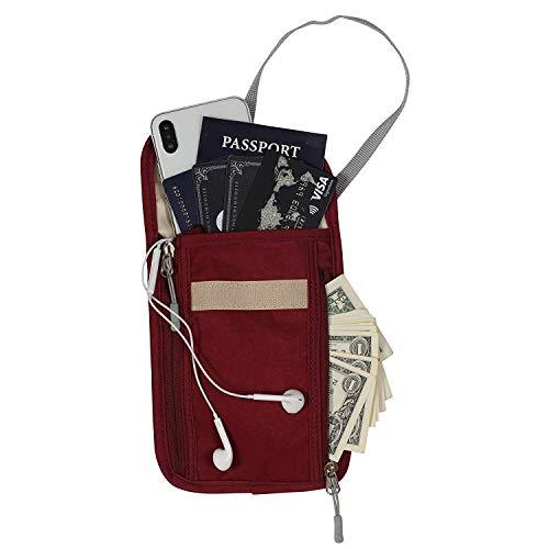 Hynes Eagle Reisepass-Hals, RFID-blockierend, für Bargeld, Dokumente, Handy, rot (Rot) - HE0833-2